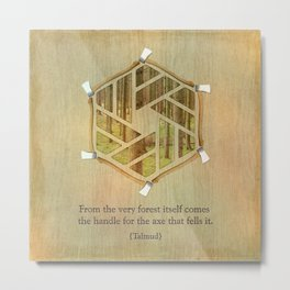 Forest & Axe — Illustrated Quote Metal Print