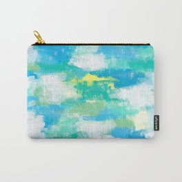 Calm Green abstract painting mint green pattern modern blue white sky nature contemporary Carry-All Pouch