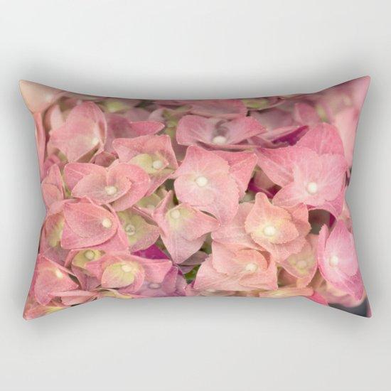 Pink hydrangea in LOVE - Flower floral Rectangular Pillow