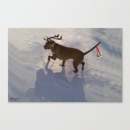"""DASHING THROUGH THE SNOW ...Christmas PLaY-Do'LPH"" from the photo series""My dog, PLaY-DoH"" Canvas Print"