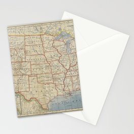 Old and Vintage Map of every States of The United States Of America Stationery Cards