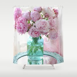 Peonies In Aqua Vase Vintage Romantic Peony Bedroom Decor Shower Curtain