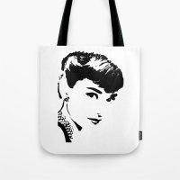 audrey hepburn Tote Bags featuring Audrey Hepburn by Saundra Myles