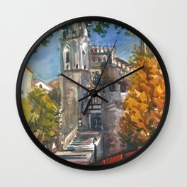 The Red Bridge at Girona, Spain Wall Clock