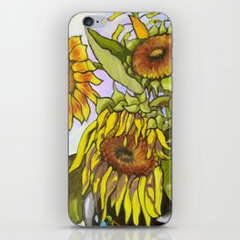Sunflowers in a Black Vase by Amanda Martinson iPhone Skin