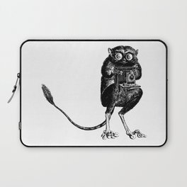 Say Cheese! | Tarsier with Vintage Camera | Black and White Laptop Sleeve