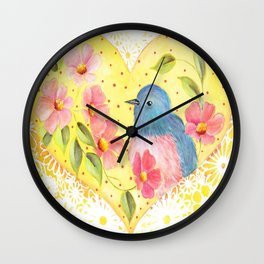 Flowers and Bird in Heart Wall Clock