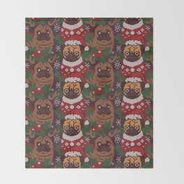 Christmas Party With The Pug Throw Blanket