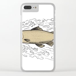 Brown Trout Waves Tattoo Clear iPhone Case