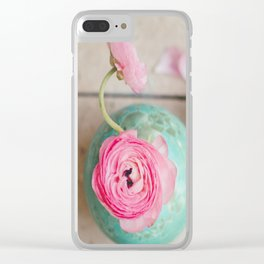Pink ranunculus bouquet mint green vase Clear iPhone Case