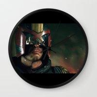 ed sheeran Wall Clocks featuring Dredd[ed] by Mel Hampson
