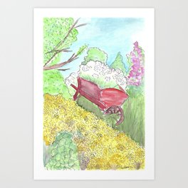Watercolor painting, Red wheelbarrow, flowers, spring, country, farmhouse Art Print