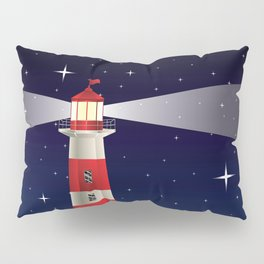 Cartoon landscape with lighthouse night sea and starry sky Pillow Sham