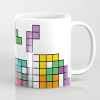 tetris Mugs featuring Tetris by Adayan