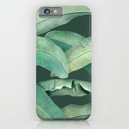 banana leaves dark green iPhone Case