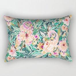PRETTY BIRD Floral Parrot Watercolor Rectangular Pillow