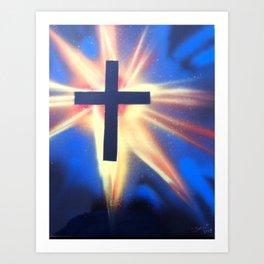 Glowing Space Cross Art Print