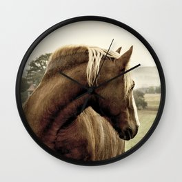 brown horse on the hill Wall Clock