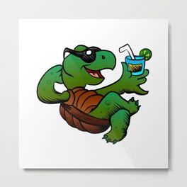 Cartoon Turtle Drinking Cocktail. Metal Print