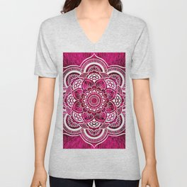 Mandala Hot Pink Colorburst Unisex V-Neck