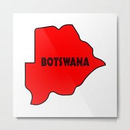 Botswana Silhouette Map Metal Print