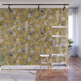 Birds of Prey in Yellow Wall Mural