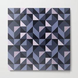Mid Century Modern Half Square Triangles Winter Night Metal Print