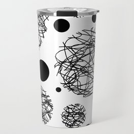Scribbles - Black and white scribbles and black circles pattern on white Travel Mug