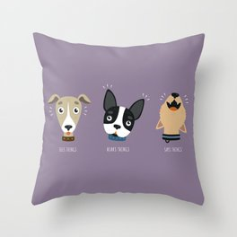 Three wise dogs Throw Pillow