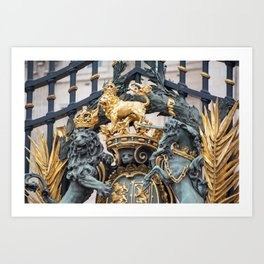 Detail of the Royal Coat of Arms on Buckingham Palace Gates London England Art Print