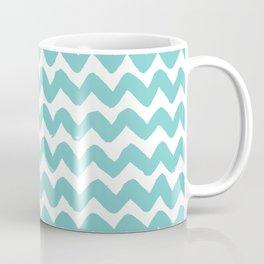 Aqua Brushstroke Chevron Pattern Coffee Mug