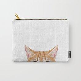 peeking tabby cat cute cat breeds pet portrait cat over pet portrait Carry-All Pouch