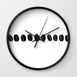 Black and White Coffee Beans Drawing by Emma Freeman Designs Wall Clock