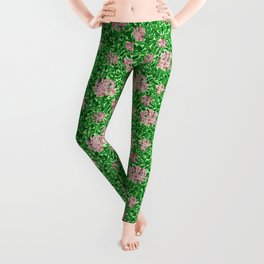 William Morris Honeysuckle, Pink and Emerald Green Leggings