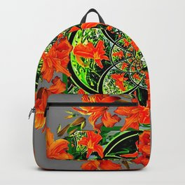 ORANGE DAYLILIES GREEN GARDEN GREY GEOMETRIC Backpack