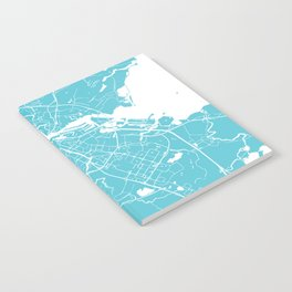Amsterdam Turquoise on White Street Map Notebook