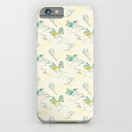 Envelope with flowers and hearts iPhone Case