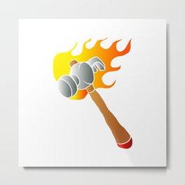 Hammer in flames Metal Print