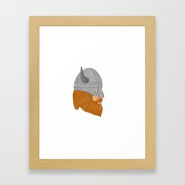 Viking Warrior Head Right Side View Drawing Framed Art Print