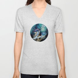 Metallic Jellyfish III Unisex V-Neck