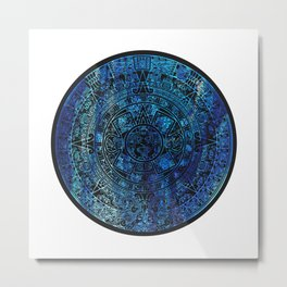 Mayan Calendar Ice Blue Granite Metal Print