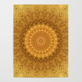 Sunflower Feather Bohemian Sun Ray Pattern \\ Aesthetic Vintage \\ Yellow Orange Color Scheme Poster