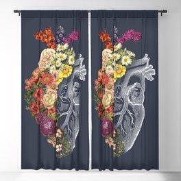 Flower Heart Spring Blue Grey Blackout Curtain