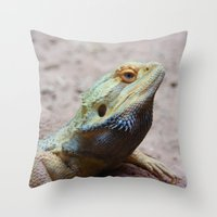 lizard Throw Pillows featuring Lizard by WonderfulDreamPicture