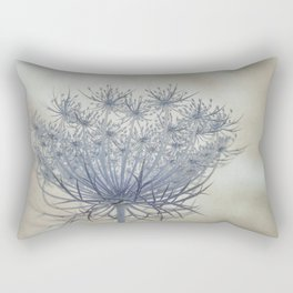 Vintage Wildflower Botanical Queen Anne's Lace in Blue Rectangular Pillow