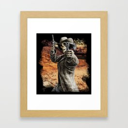 LETS DANCE Skeleton Western Gunslinger Cowboy Print Framed Art Print