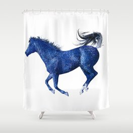 Happy Horse in Blue Shower Curtain