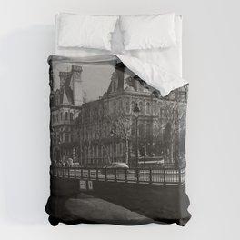 Ile de La Cite Paris France Monochrome Duvet Cover