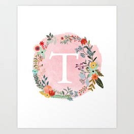 Flower Wreath with Personalized Monogram Initial Letter T on Pink Watercolor Paper Texture Artwork Art Print