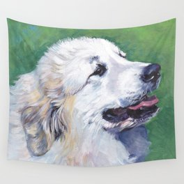 Great Pyrenees dog portrait art from an original painting by L.A.Shepard Wall Tapestry